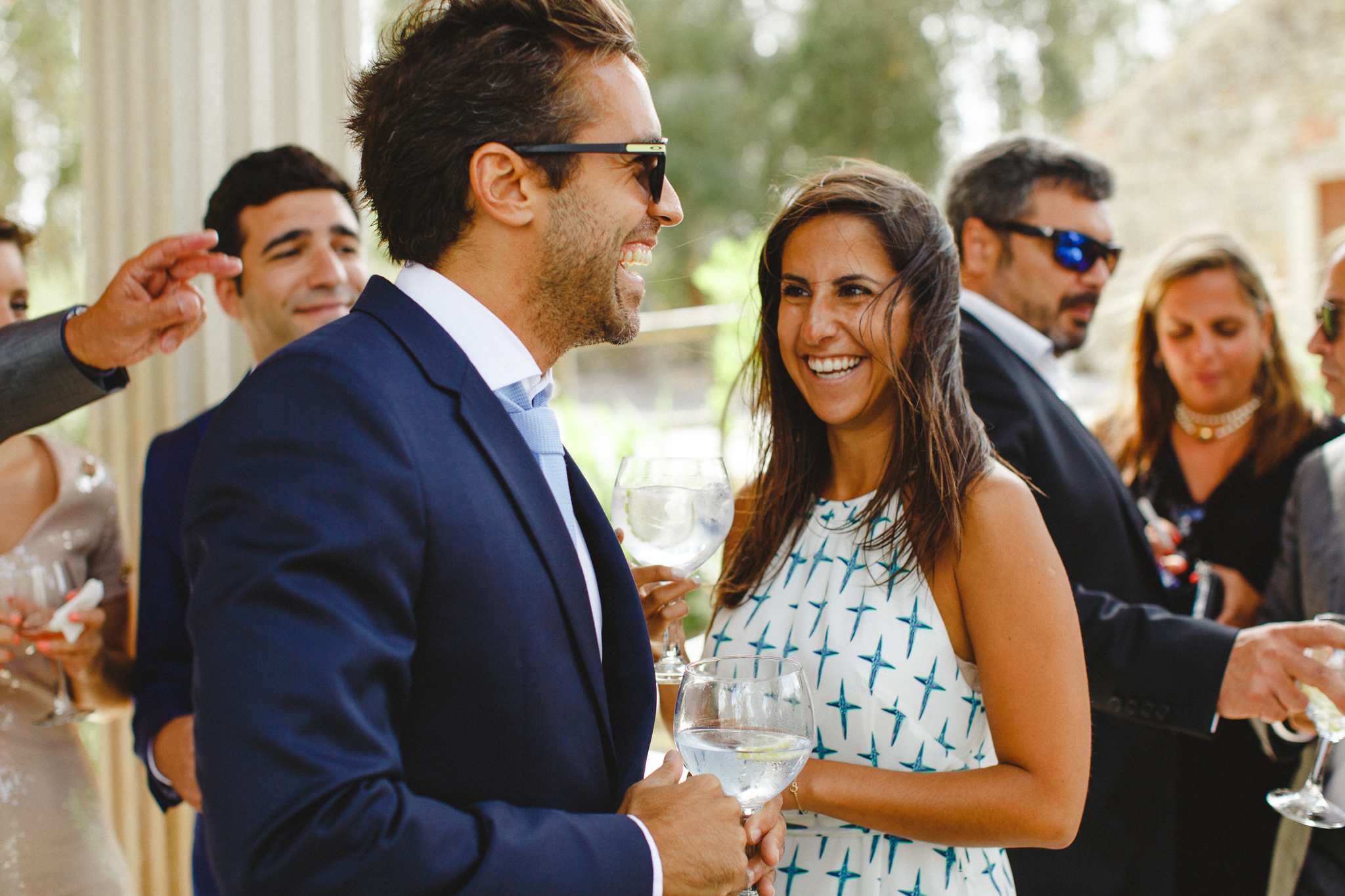 Weddings guests having fun during cocktail