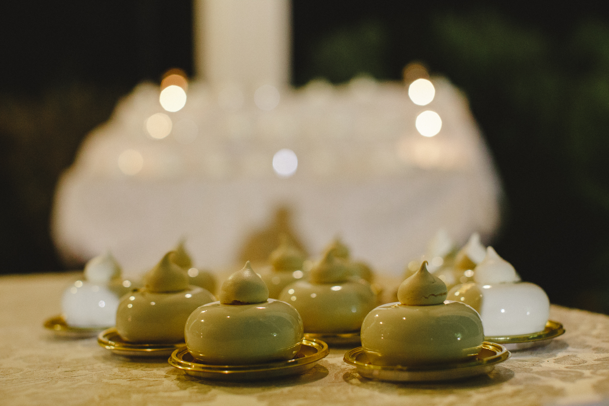 Close-up of wedding cake miniatures
